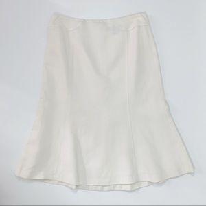 Ann Taylor Cream Trumpet Linen blend career skirt